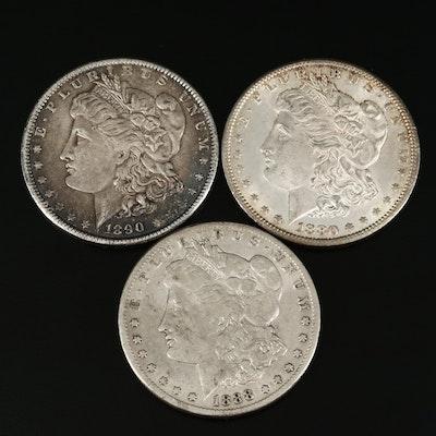 1880, 1880-S and 1890 Morgan Silver Dollars