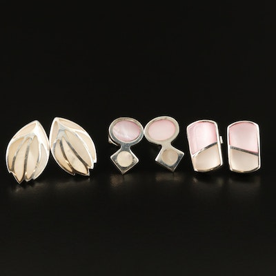 Sterling Silver Earrings Selection Featuring Mother of Pearl Inlay