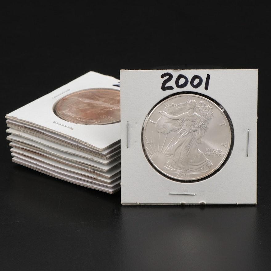 Ten American Silver Eagle $1 Bullion Coins, 2000 to 2009
