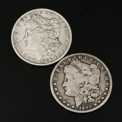 Better Date 1886-O and 1892-S Morgan Silver Dollars