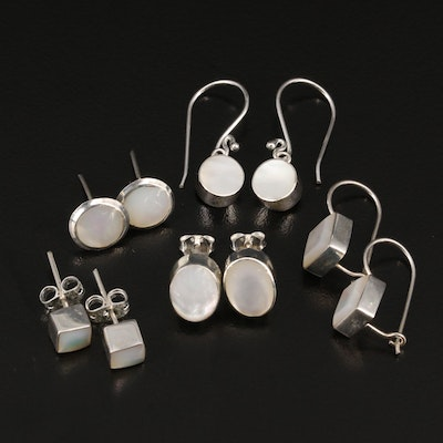 Selection of Modernist Sterling Silver Mother of Pearl  Earrings