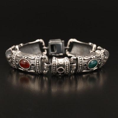 Sterling Silver Black Onyx and Chalcedony Bracelet