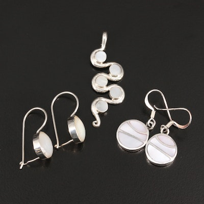 Sterling Mother of Pearl Inlay Pendant and Earrings