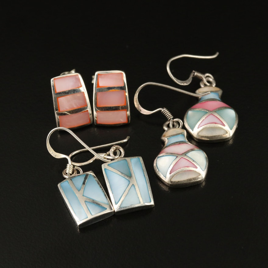 Sterling Silver Mother of Pearl Inlay Earrings