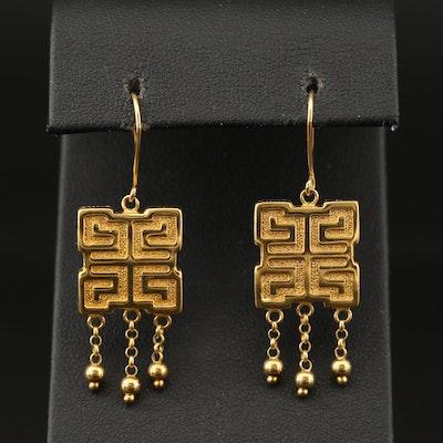 14K Dangle Earrings with Greek Key Style Motif