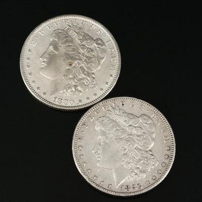 Pair of Lightly Circulated Morgan Silver Dollars