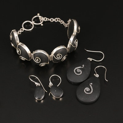 Sterling and 800 Silver Resin Swirl Dangle Earrings and Bracelet