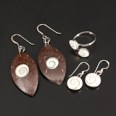 Sterling Shell and Wood Earrings and Ring