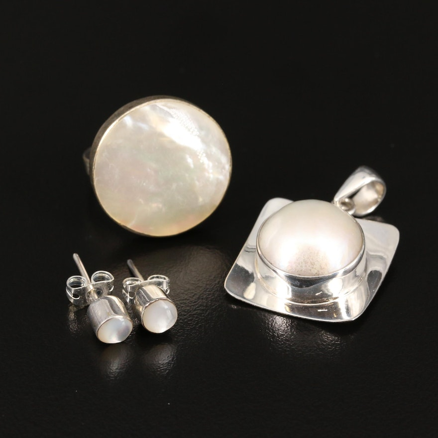 Sterling Silver Mother of Pearl Ring and Stud Earrings with Mabé Pearl Pendant