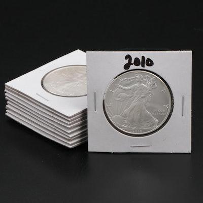 Ten American Silver Eagle Dollar Bullion Coins, 2010 – 2019