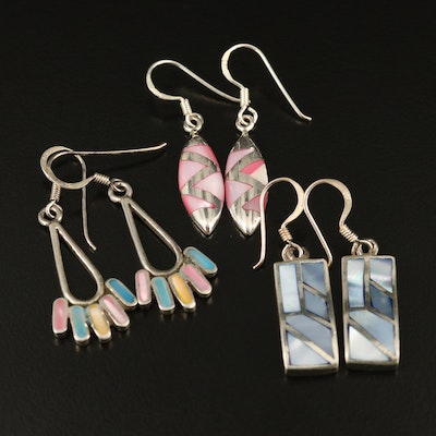 Sterling Mother of Pearl Dangle Inlay Earrings