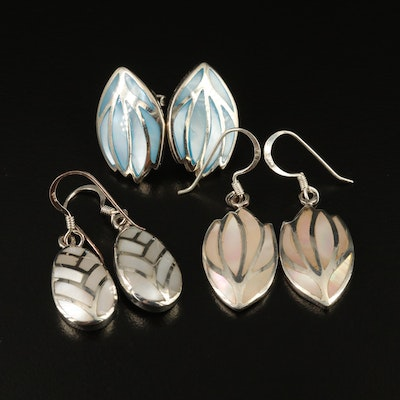 Assorted Sterling Silver Earrings Featuring Mother of Pearl Inlay