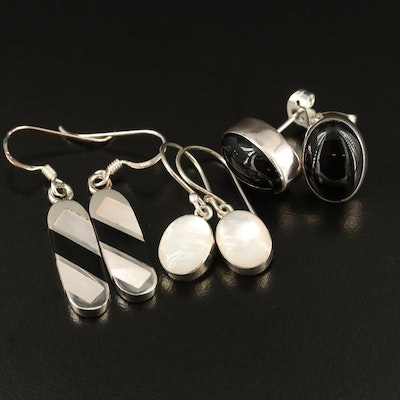 Assorted Sterling Silver Earrings Featuring Black Onyx and Mother of Pearl