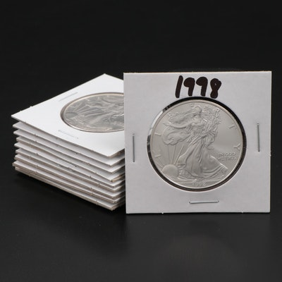Ten 1998 American Silver Eagle Dollar Bullion Coins