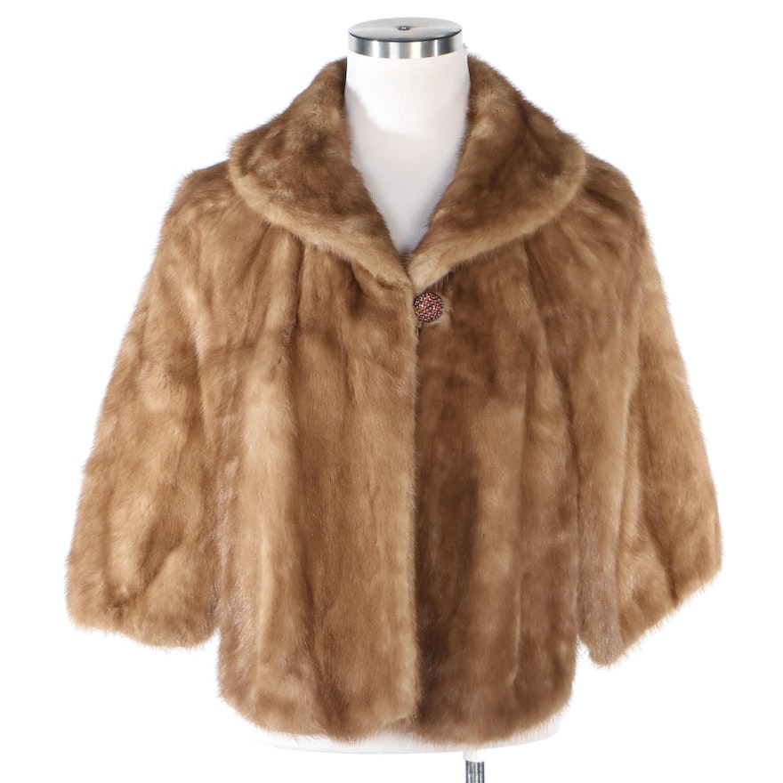 Mink Fur Capelet with Embellished Button from Littman's Furs