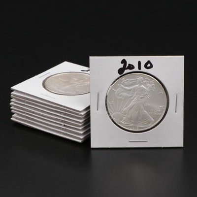 Ten American Silver Eagle Dollar Bullion Coins, 2010 – 2019