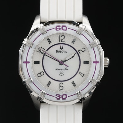 Bulova Marine Star MOP Center Dial Stainless Steel Quartz Wristwatch