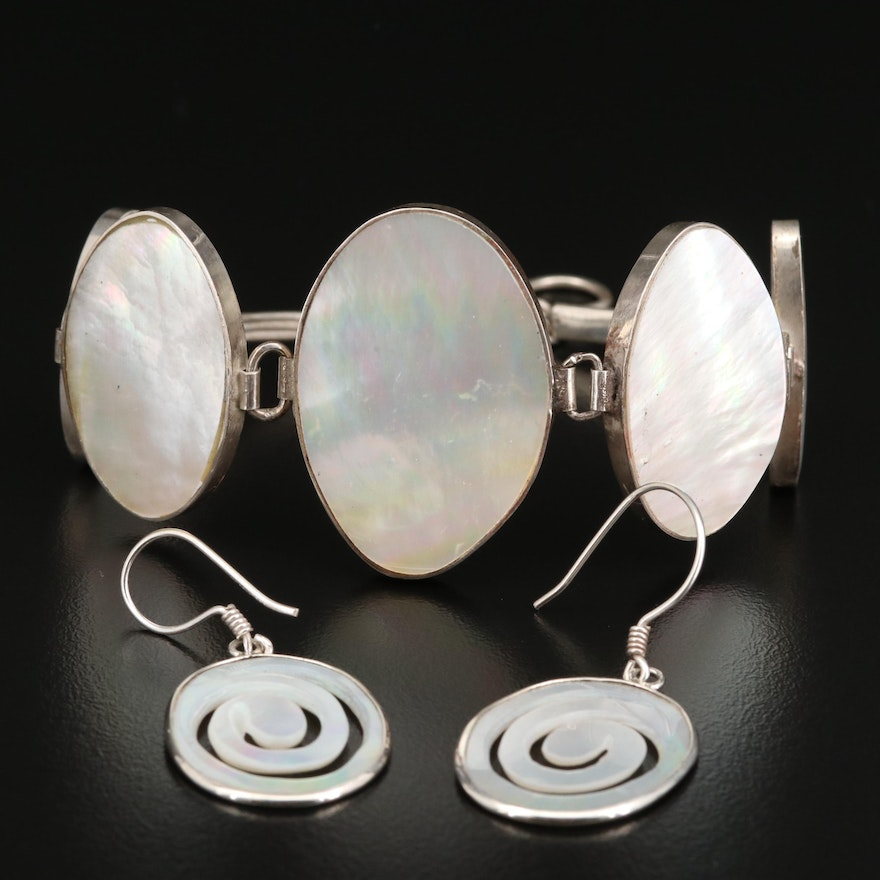 Geometric Sterling Silver Mother of Pearl Earrings and Bracelet