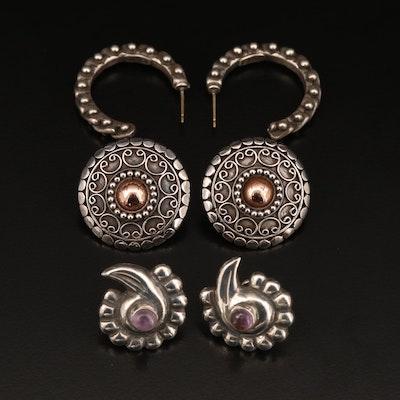 Sterling Silver Amethyst Stud Earrings and 800 Silver Hoop Earrings