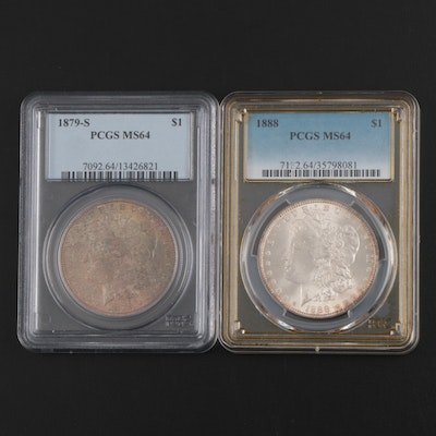 PCGS Graded MS64 1879-S and 1888 Morgan Silver Dollars