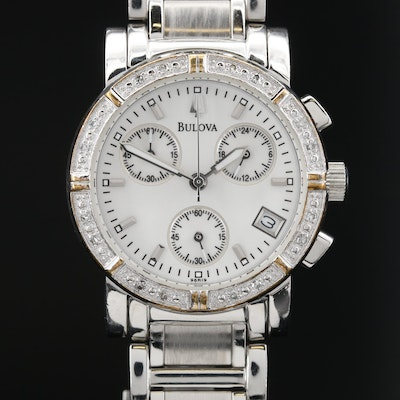 Bulova Diamond and Stainless Steel Chronograph Quartz Wristwatch