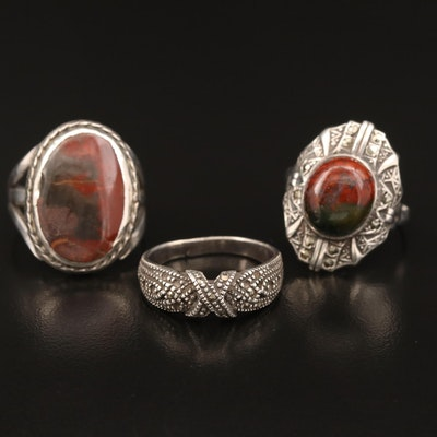 Sterling Silver Ring Selection Featuring Jasper and Marcasite Accents