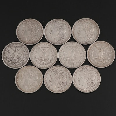 Ten Morgan Silver Dollars