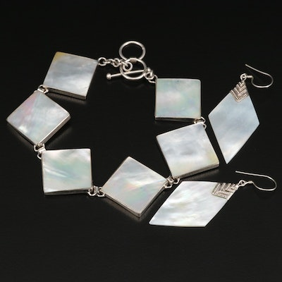 Sterling Silver Mother of Pearl Toggle Bracelet and Earrings
