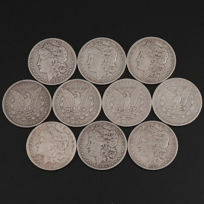 Ten Morgan Silver Dollars Including Better Date 1894-O