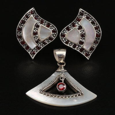 Sterling Silver Garnet, Mother of Pearl, and Glass Pendant and Earrings