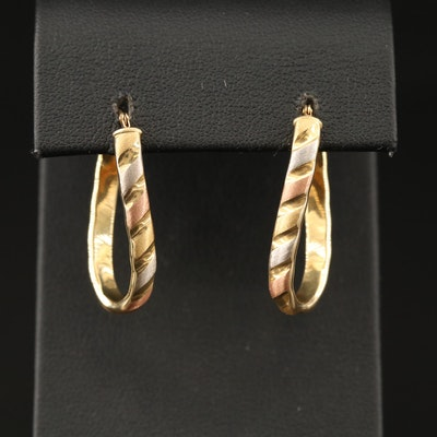 18K Rose, White and Yellow Gold Elongated Hoop Earrings