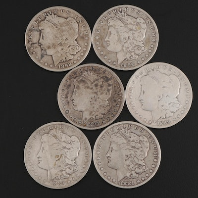 Better Date 1898-S and Five Other Morgan Silver Dollars