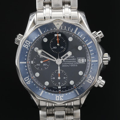 Omega Seamaster Diver 300M Chronograph Stainless Steel Automatic Wristwatch