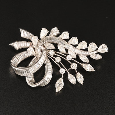 Vintage Platinum 7.94 CTW Diamond Floral Spray Brooch