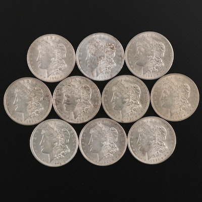 Ten 1921 Morgan Silver Dollars