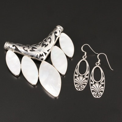 Sterling Silver Mother of Pearl and Resin Dangle Earrings and Slide Pendant