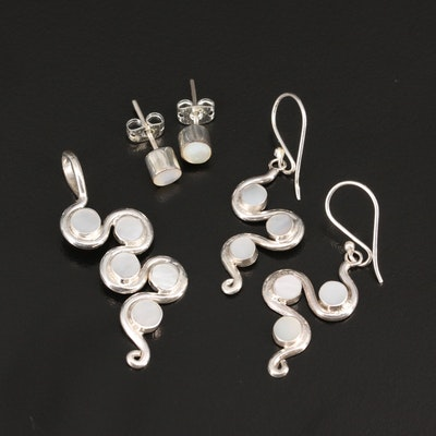 Selection of Sterling Earrings and Pendant Featuring Mother of Pearl and Resin
