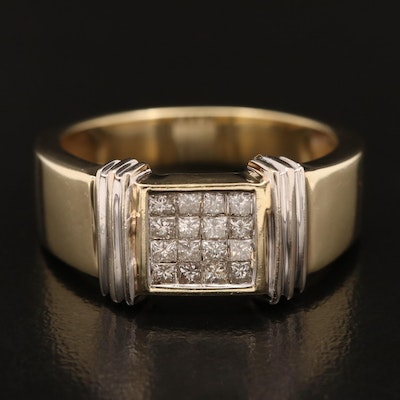 14K Invisible Set Diamond Ring
