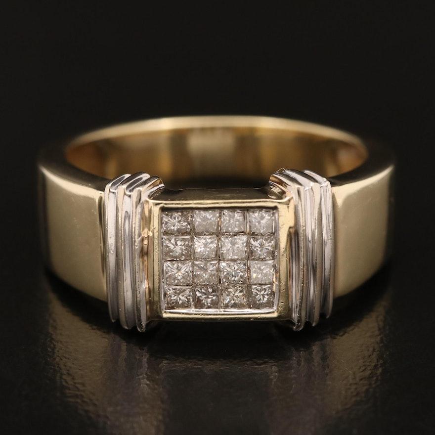 14K Invisible Set Diamond Ring