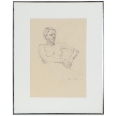 Graphite Figure Drawing of Seated Female Nude, Mid to Late 20th Century