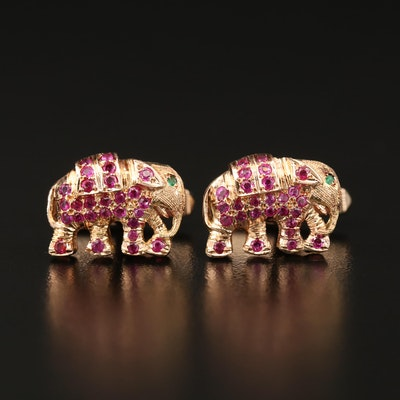 Vintage 14K Ruby and Emerald Elephant Cufflinks