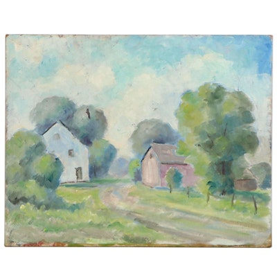 Emmett A. Pratt Oil Painting of Landscape Farmhouse and Barn