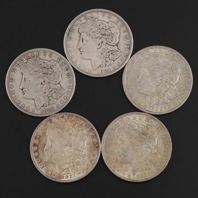 Five 1921 Morgan Silver Dollars