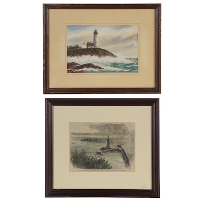Watercolor Painting and Wood Engraving of Coastal Scenes with Lighthouses