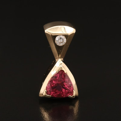 14K Tourmaline and Diamond Slide Pendant