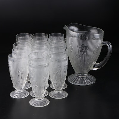"Jeanette ""Iris"" Depression Glass Iced Tea Set with Pitcher, 1928–1932"