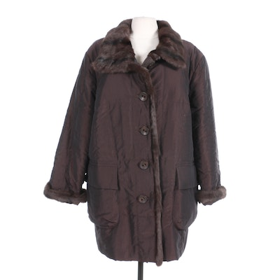 Wille Puffer Coat with Dyed Marten Fur Trim, Made in Germany