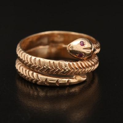 14K Ruby Coiled Snake Ring