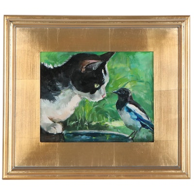 "Adam Deda Oil Painting ""A Cat and Magpie"", 2020"