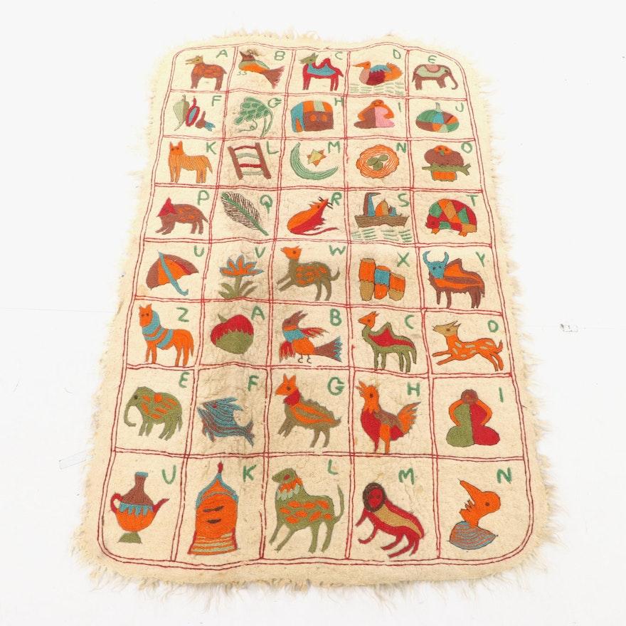 4'4 x 6'9 Handmade Indian Kashmiri Namda Embroidered Felt Alphabet Rug